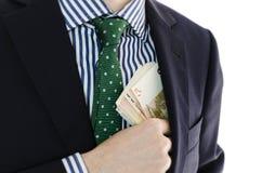 Επιχειρηματίας με τα χρήματα διαθέσιμα Στοκ εικόνες με δικαίωμα ελεύθερης χρήσης