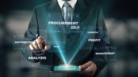 Επιχειρηματίας με την έννοια διοικητικών ολογραμμάτων αλυσιδών εφοδιασμού SCM απόθεμα βίντεο