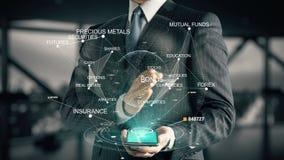 Επιχειρηματίας με την έννοια ολογραμμάτων επένδυσης δεσμών απεικόνιση αποθεμάτων