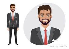 Επιχειρηματίας με τη γενειάδα στο επίσημο κοστούμι Πλήρες πορτρέτο μήκους του επιχειρηματία κινούμενων σχεδίων Χαρακτήρας για τα  ελεύθερη απεικόνιση δικαιώματος