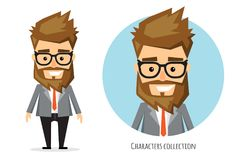 Επιχειρηματίας με τη γενειάδα στο επίσημο κοστούμι απεικόνιση αποθεμάτων