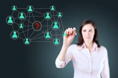 Επιχειρηματίας με τη μάνδρα που επισύρει την προσοχή το κοινωνικό δίκτυο ή την πολυ απεικόνιση έννοιας σύνδεσης μάρκετινγκ επιπέδω Στοκ Εικόνα