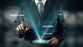 Επιχειρηματίας με τη συμμόρφωση 2 έννοια ολογραμμάτων απεικόνιση αποθεμάτων