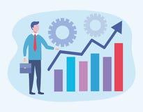 Επιχειρηματίας με τις πληροφορίες και τα εργαλεία φραγμών στατιστικών απεικόνιση αποθεμάτων