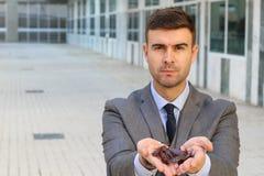 Επιχειρηματίας με τις πολλαπλάσιες κατσαρίδες στα χέρια του στοκ εικόνα