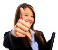 Επιχειρηματίας με τους αντίχειρες επάνω στοκ φωτογραφία με δικαίωμα ελεύθερης χρήσης