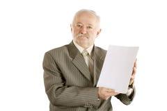 Επιχειρηματίας με το έγγραφο σε ένα χέρι Στοκ φωτογραφίες με δικαίωμα ελεύθερης χρήσης