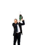0 επιχειρηματίας με το αλυσιδοπρίονο Στοκ φωτογραφία με δικαίωμα ελεύθερης χρήσης