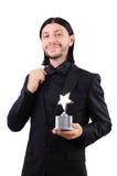 Επιχειρηματίας με το βραβείο αστεριών που απομονώνεται Στοκ Εικόνα