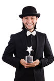 Επιχειρηματίας με το βραβείο αστεριών που απομονώνεται Στοκ εικόνα με δικαίωμα ελεύθερης χρήσης
