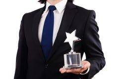 Επιχειρηματίας με το βραβείο αστεριών Στοκ Εικόνες
