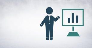 Επιχειρηματίας με το εικονίδιο διαγραμμάτων οθόνης παρουσίασης Στοκ εικόνα με δικαίωμα ελεύθερης χρήσης