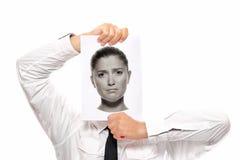 Επιχειρηματίας με το θηλυκό κεφάλι Στοκ φωτογραφίες με δικαίωμα ελεύθερης χρήσης