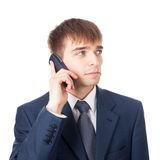 Επιχειρηματίας με το κινητό τηλέφωνο που απομονώνεται στο λευκό Στοκ εικόνα με δικαίωμα ελεύθερης χρήσης