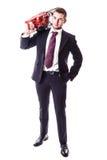 Επιχειρηματίας με το κόκκινο αλυσιδοπρίονο Στοκ φωτογραφίες με δικαίωμα ελεύθερης χρήσης