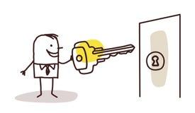 Επιχειρηματίας με το κλειδί και την πόρτα ελεύθερη απεικόνιση δικαιώματος