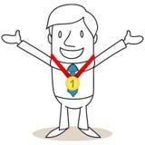Επιχειρηματίας με το μετάλλιο, αριθμός ένας. Στοκ φωτογραφίες με δικαίωμα ελεύθερης χρήσης