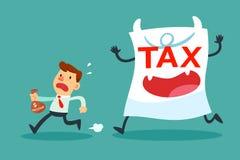 Επιχειρηματίας με το μικρό εισόδημα που τρέχει μακρυά από το φορολογικό έγγραφο monste απεικόνιση αποθεμάτων