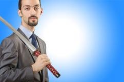 Επιχειρηματίας με το ξίφος Στοκ εικόνα με δικαίωμα ελεύθερης χρήσης