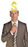 Επιχειρηματίας με το δολάριο μέσα στο κεφάλι Στοκ εικόνες με δικαίωμα ελεύθερης χρήσης