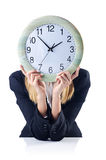 Επιχειρηματίας με το ρολόι Στοκ Φωτογραφίες