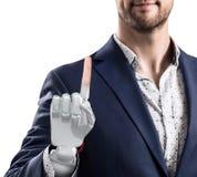 Επιχειρηματίας με το ρομποτικό χέρι Έννοια προσθέσεων τρισδιάστατη απόδοση Στοκ Εικόνες