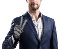 Επιχειρηματίας με το ρομποτικό χέρι Έννοια προσθέσεων τρισδιάστατη απόδοση Στοκ εικόνα με δικαίωμα ελεύθερης χρήσης