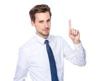 Επιχειρηματίας με το σημείο δάχτυλων επάνω Στοκ Φωτογραφίες