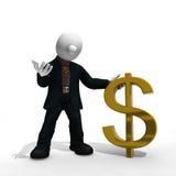 Επιχειρηματίας με το σύμβολο δολαρίων με το ψαλίδισμα της πορείας διανυσματική απεικόνιση