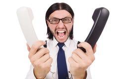 0 επιχειρηματίας με το τηλέφωνο που απομονώνεται στο λευκό Στοκ εικόνα με δικαίωμα ελεύθερης χρήσης