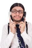 Επιχειρηματίας με το τηλέφωνο που απομονώνεται στο λευκό Στοκ φωτογραφία με δικαίωμα ελεύθερης χρήσης