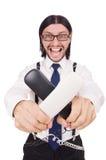 0 επιχειρηματίας με το τηλέφωνο που απομονώνεται στο λευκό Στοκ φωτογραφίες με δικαίωμα ελεύθερης χρήσης