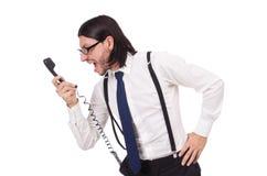 0 επιχειρηματίας με το τηλέφωνο που απομονώνεται στο λευκό Στοκ Εικόνες