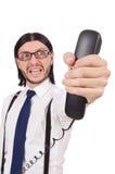 0 επιχειρηματίας με το τηλέφωνο που απομονώνεται στο λευκό Στοκ Εικόνα