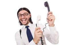 0 επιχειρηματίας με το τηλέφωνο που απομονώνεται στο λευκό Στοκ φωτογραφία με δικαίωμα ελεύθερης χρήσης