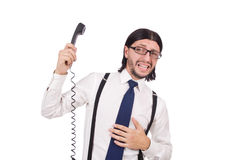 Επιχειρηματίας με το τηλέφωνο που απομονώνεται στο λευκό Στοκ φωτογραφίες με δικαίωμα ελεύθερης χρήσης