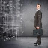 Επιχειρηματίας με το τρισδιάστατο πρότυπο σκίτσο Στοκ Φωτογραφίες