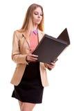 Επιχειρηματίας με το φάκελλο στα χέρια Στοκ Εικόνες