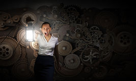 Επιχειρηματίας με το φανάρι Στοκ Εικόνα