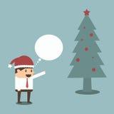 Επιχειρηματίας με το χριστουγεννιάτικο δέντρο Στοκ εικόνα με δικαίωμα ελεύθερης χρήσης