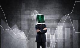 Επιχειρηματίας με το όργανο ελέγχου αντί του κεφαλιού απεικόνιση αποθεμάτων