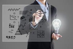 Επιχειρηματίας με το lightbulb και την έμπνευση γραφικών παραστάσεων σχεδίων χεριών Στοκ φωτογραφίες με δικαίωμα ελεύθερης χρήσης