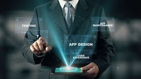 Επιχειρηματίας με App την έννοια ολογραμμάτων ανάπτυξης φιλμ μικρού μήκους