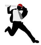 Επιχειρηματίας με hardhat τα άλματα Στοκ εικόνες με δικαίωμα ελεύθερης χρήσης