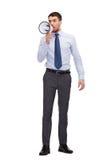 0 επιχειρηματίας με megaphone Στοκ φωτογραφία με δικαίωμα ελεύθερης χρήσης