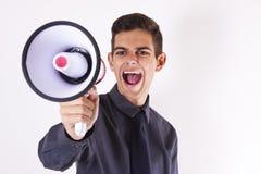 Επιχειρηματίας με megaphone Στοκ Εικόνες