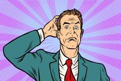 Επιχειρηματίας μπερδεμένος και συγκεχυμένος διανυσματική απεικόνιση