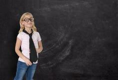 Επιχειρηματίας, νέο κορίτσι, πίνακας κιμωλίας, επιχείρηση Στοκ Φωτογραφία