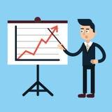 Επιχειρηματίας πίσω από τη στάση με το διάγραμμα απεικόνιση αποθεμάτων