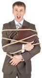Επιχειρηματίας που δένεται με την κραυγή σχοινιών Στοκ Φωτογραφία